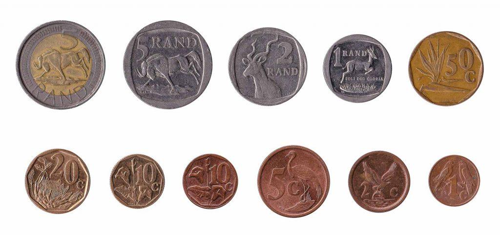 Monedas sudafricanas Rand y centavos